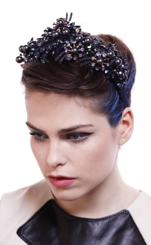 Grande Black Pearl and Crystal Headband