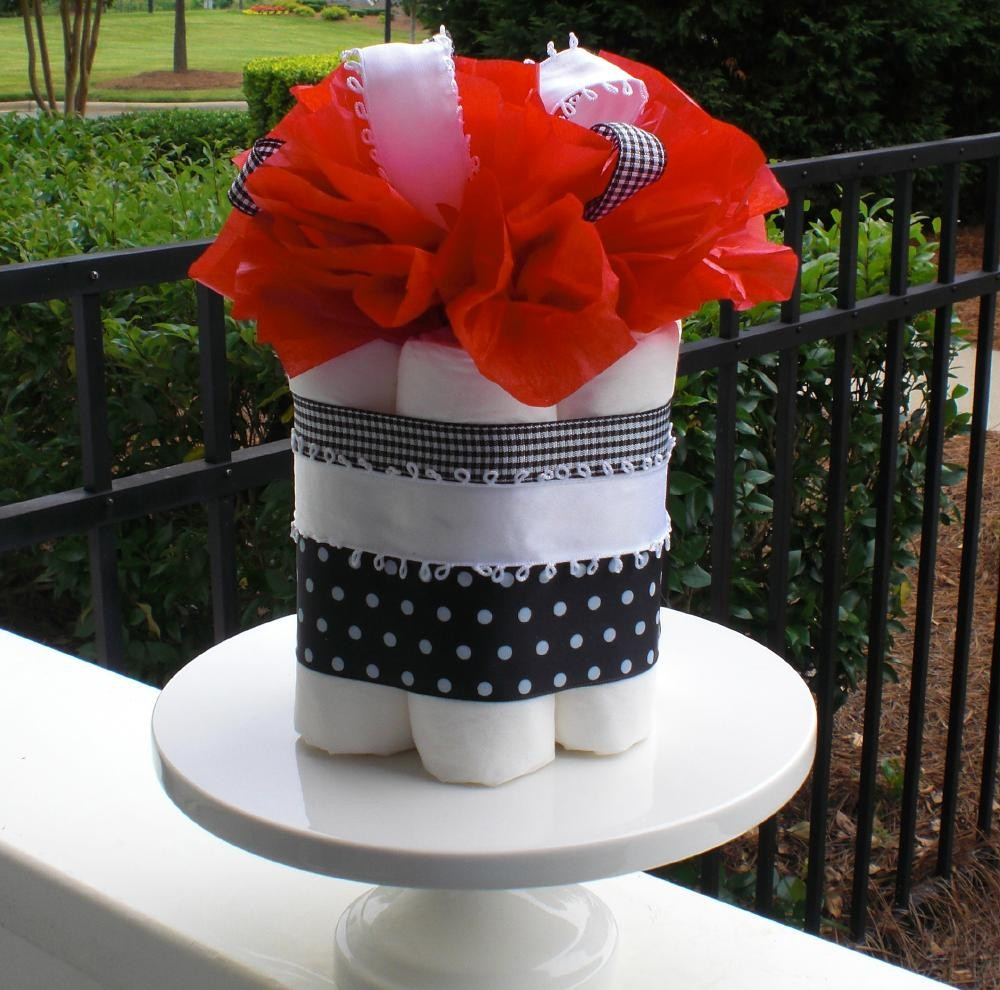 Eco Diaper Cupcake in Cherry Red and Polka Dots