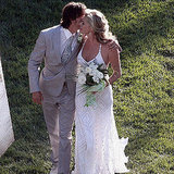 Rebecca Romijn and Jerry O'Connell tied the knot at their Calabasas home in July 2007. The bride walked down the aisle in a beaded lace Ralph Lauren gown, paired with Sergio Rossi heels and chandelier diamond earrings by Neil Lane.
