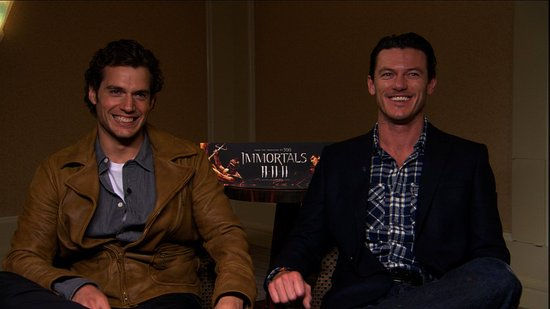 Video: Immortals Stars Henry Cavill and Luke Evans Talk Sex Scenes and Superman!