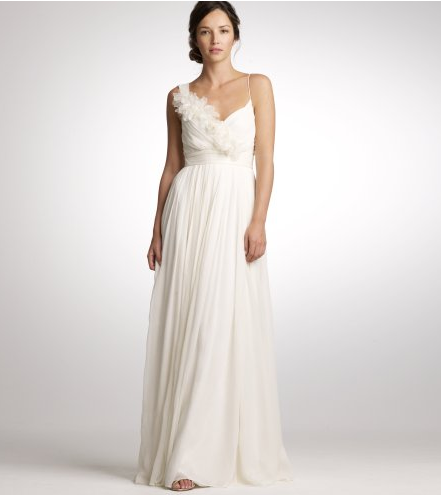 We love the feathery floral embellishment on this Grecian silhouette. J.Crew Chiffon and Organza Dune Gown ($995)