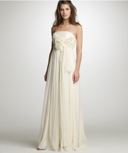 We like the darker beige hue and romantic tie. J.Crew Chiffon Augusta Gown ($995)