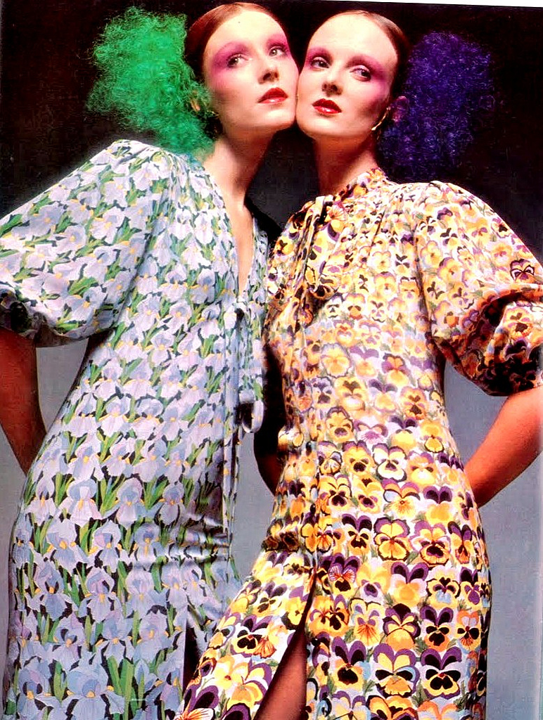 Coddington, right, in British Vogue March 1971, by Barry Lategan