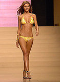 Miranda Kerr wore yellow for a runway show in Spain in 2008.