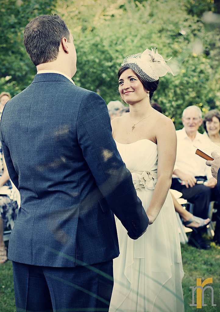 Without a face-covering veil, this bride gazed into her husband's eyes thanks to this head-topper.  Source: Flickr user rachel mason photography