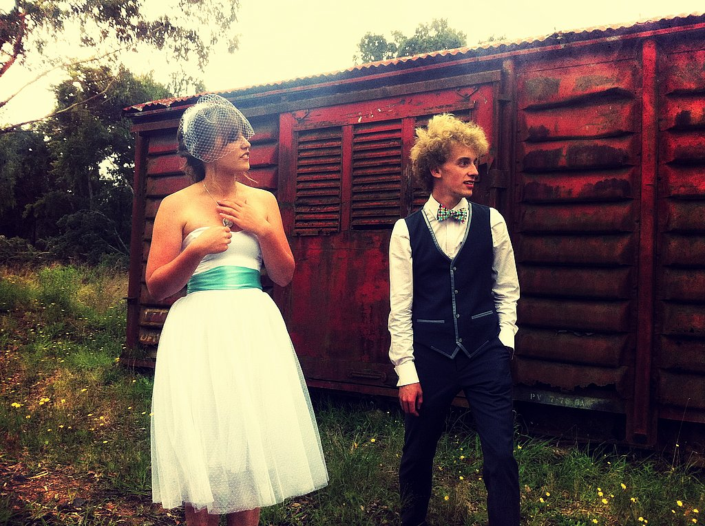 A tea-length gown, turquoise sash, and vintage veil made for an enviably cool style. Source: Flickr user Lachlan