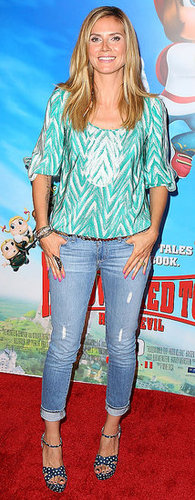 Heidi Klum Wears Denim and Peasant Blouse