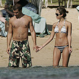 Jessica Alba and Cash Warren waded in the water together during their trip to Hawaii in January 2006.