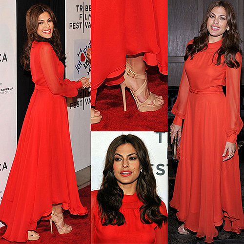 Eva Mendes Wears Red Gucci Dress to Tribeca Film Festival 2011-04-26 09:35:31