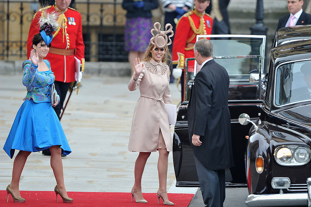Princesses Eugenie and Beatrice Wave as They Leave the Royal Wedding