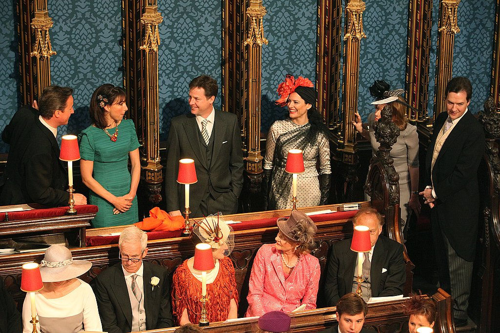British Prime Minister David Cameron, wife Samantha Cameron, Deputy Prime Minister Nick Clegg, wife Miriam Gonzalez Durantez