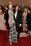 Aimee Mullins in a custom Theyskens' Theory gown, with Olivier Theyskens