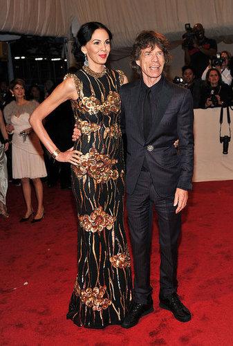 L'Wren Scott in her own design and Mick Jagger