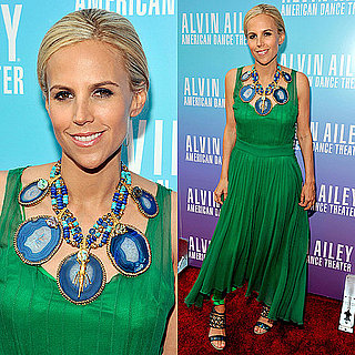 Tory Burch Style: Green Dress and Blue Necklace 2011-05-04 09:45:57