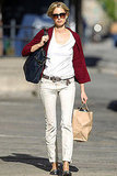 We loved Karolina Kurkova's put-together basics while running errands.