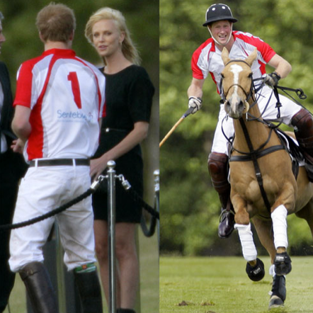 Charlize Theron Chatting With Prince Harry at a Polo Match