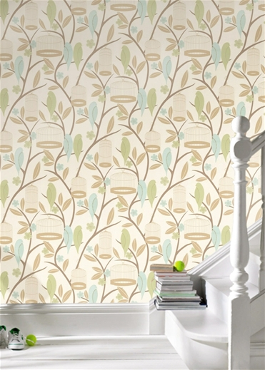 Birdcage Beige Wallpaper ($140)