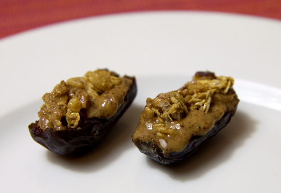 Medjool Dates With Almond Butter and Granola
