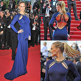 Pictures of Bar Refaeli in Blue Roberto Cavalli Dress at The Beaver Premiere at Cannes Film Festival 2011
