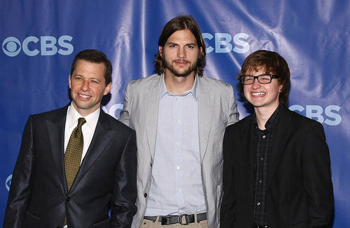 Pictures of Ashton Kutcher With Two and a Half Men's Jon Cryer and Angus T. Jones at 2011 CBS Upfront