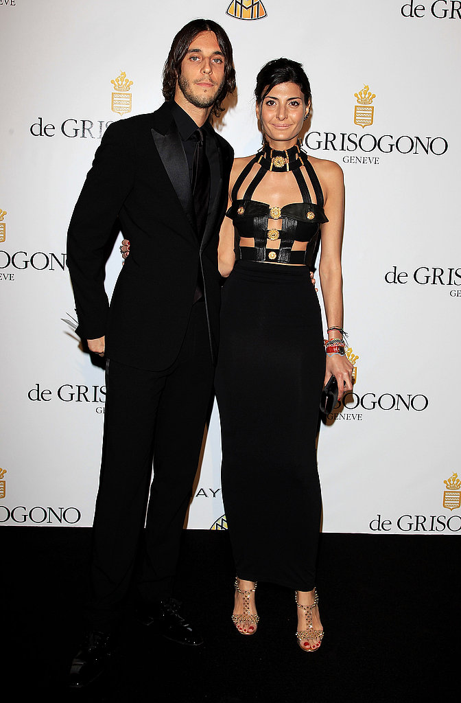 Vladimir Restoin-Roitfeld and Giovanna Battaglia in vintage Versace