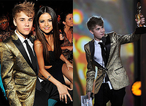 Pictures of Justin Bieber in a Gold Tuxedo Jacket With Selena Gomez at the 2011 Billboard Music Awards