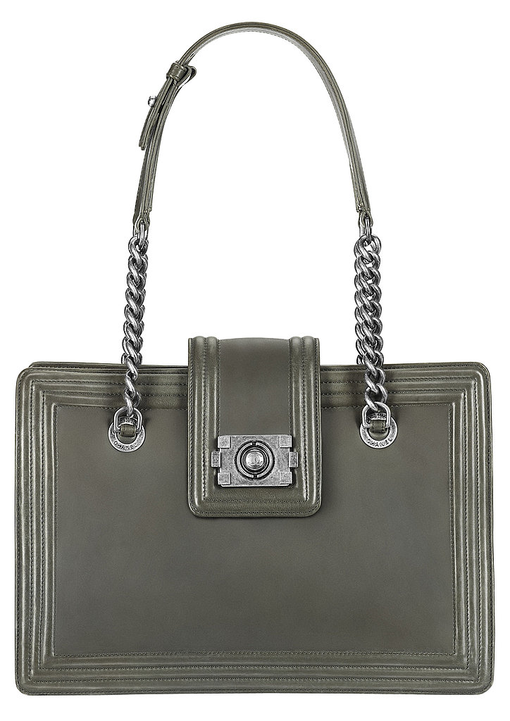 Dark Grey Leather Handbag