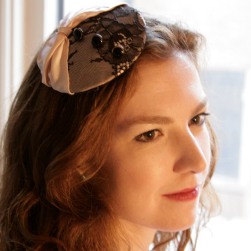 Vintage-Inspired Pink and Black Chantilly Lace Fascinator ($50)