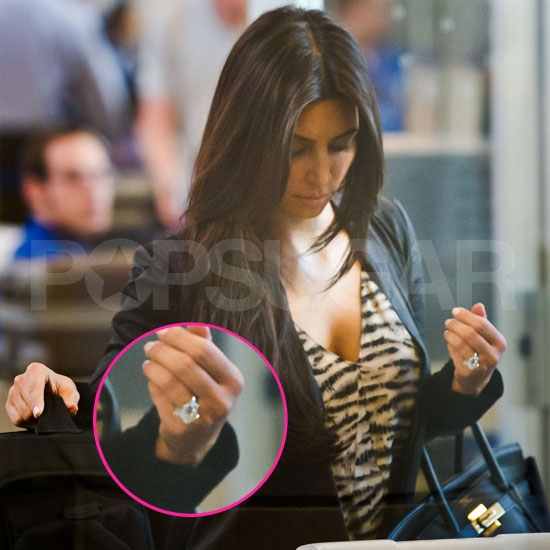 See Kim Kardashian Take Off With Her 20.5-Carat Diamond Ring!