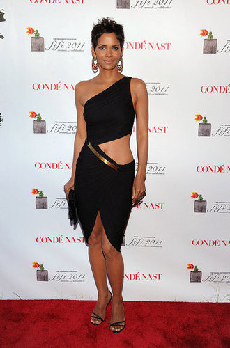 Halle Berry in Sexy Black Halston Dress at Fifi Awards