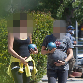 Pregnant Celebrities Working Out in Pan Pacific Park
