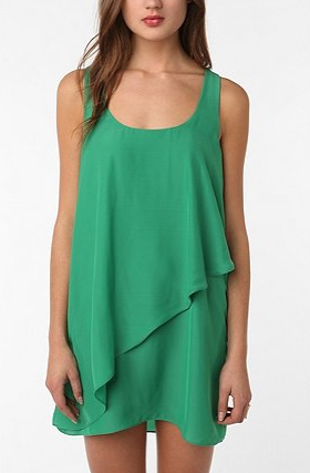 A tank dress jazzed up in jade green and pretty layers. Silence & Noise Layered Dress, $69