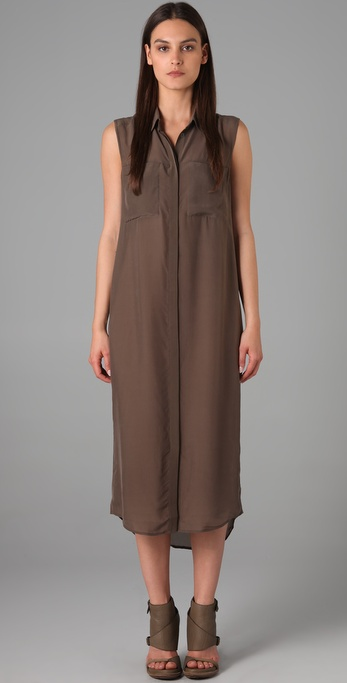 A modern take on the shirtdress.  T by Alexander Wang Silk Chiffon Sleeveless Shirtdress, $210