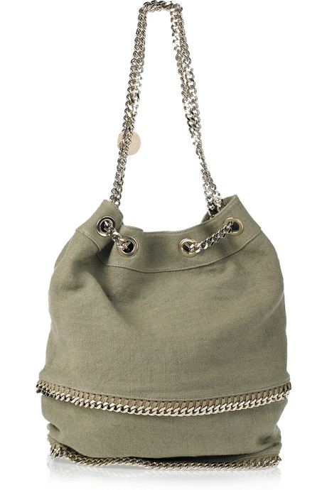 The natural textile is sleek Summer option.  Stella McCartney Falabella Bucket Bag ($837, originally $1,395)
