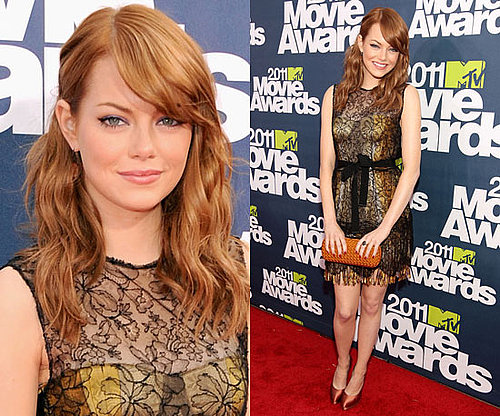 Emma Stone in Lacy Bottega Veneta Dress at 2011 MTV Movie Awards