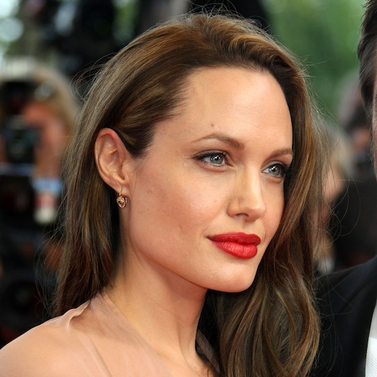 Angelina's look got a bit of retro glamour with sophisticated red lipstick at the premiere of Inglorious Basterds in 2010.