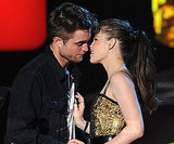 Robert Pattinson and Kristen Stewart nearly locked lips while accepting the award for best kiss in 2010.