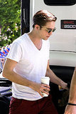 Robert Pattinson Looks Hot in Red Pants and Perfectly Parted Hair on Set