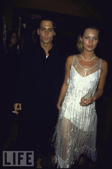 1994: Ed Wood premiere, in a Calvin Klein dress covered by vintage beaded flapper's chemise once owned by Mrs. Errol Flynn