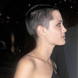 A then 22-year-old Angelina shaved her head for her starring role in HBO's Gia.
