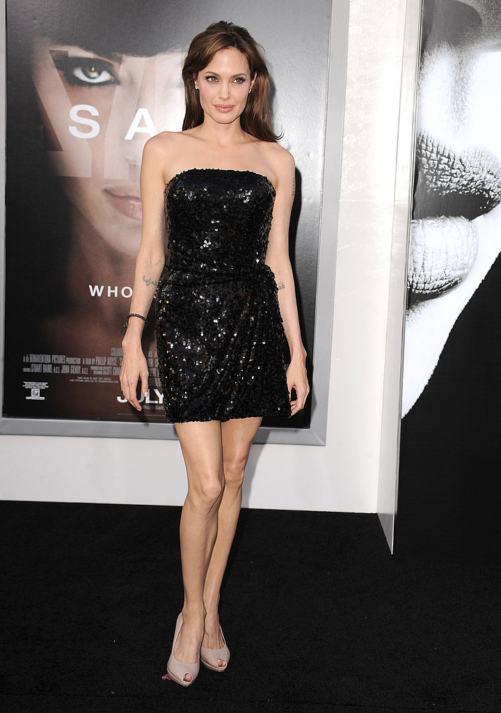 Angelina dazzled us in a sequinned Emporio Armani Spring 2008 strapless mini dress.