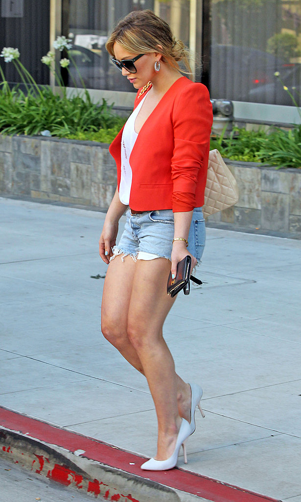 Hilary Duff Shops in Short Shorts and Shares a Fitness Secret With Fans