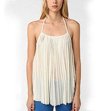 A floaty, breezy version of your basic tank.   Sparkle & Fade Accordian Pleat Halter Top, $34