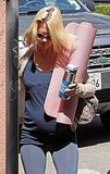 Pregnant January Jones Fits in a Yoga Session Following X-Men's Debut