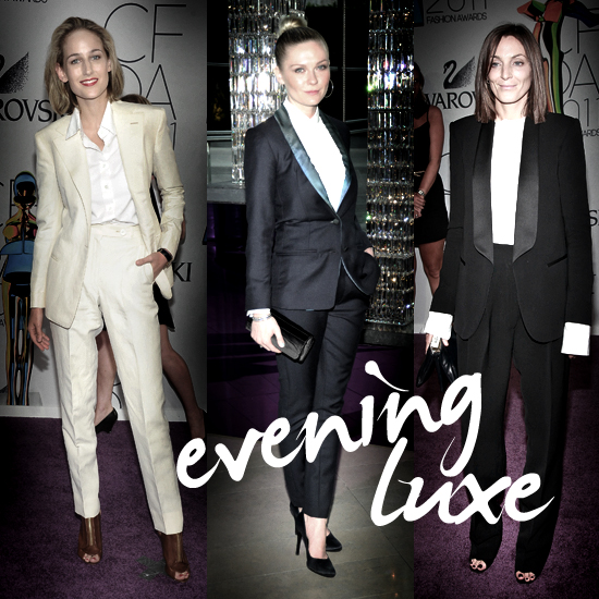 Inspired Evening Style — Phoebe Philo, Kirsten Dunst, and Leelee Sobieski in Gorgeous Tuxes