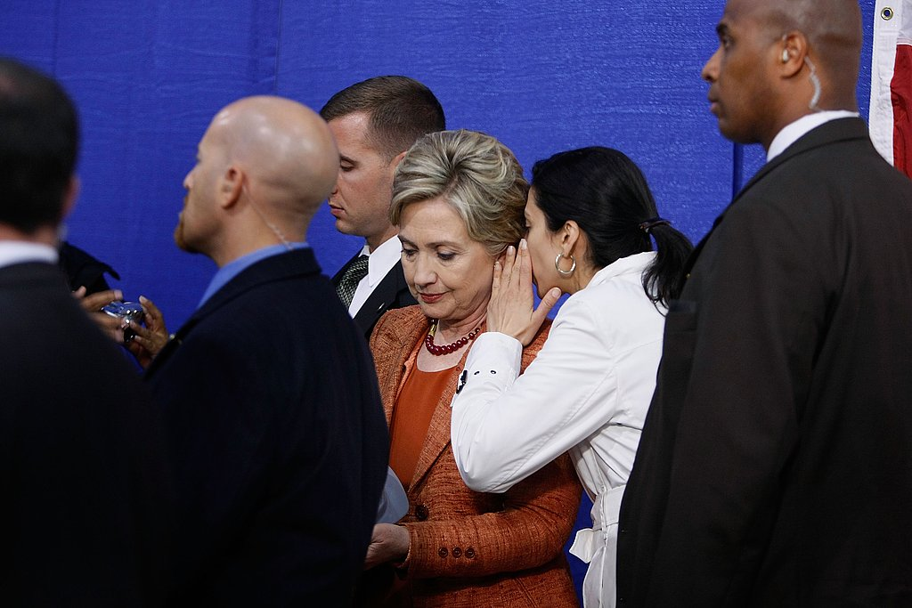 Huma was a constant figure by Hillary Clinton's side.