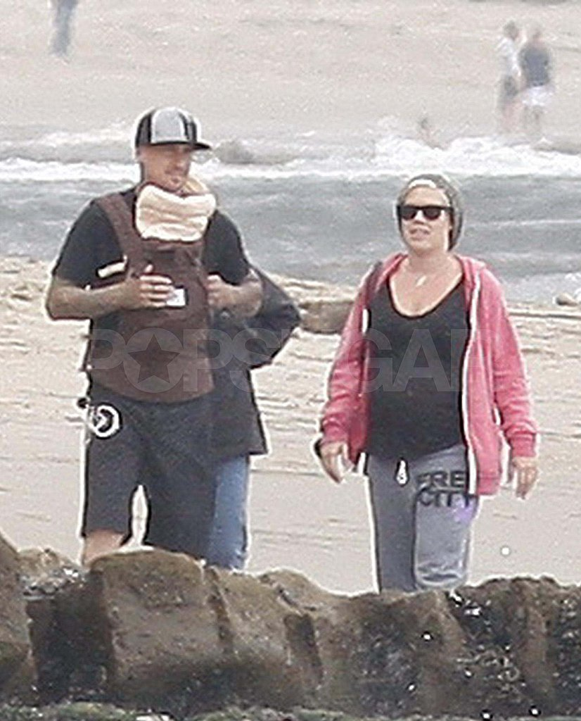 New Parents Pink and Carey Hart Bring Baby Willow to the Beach