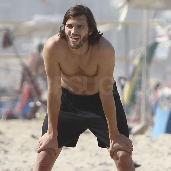 Ashton Kutcher Lets Loose With a Shirtless Volleyball Match in Rio