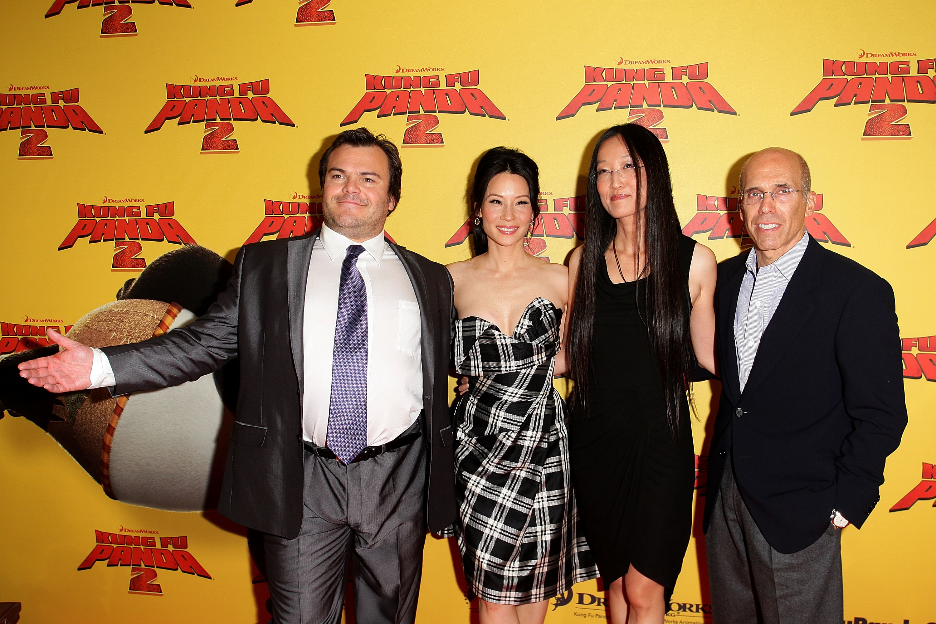 Jack Black, Lucy Liu, Jennifer Yuh Nelson and Jeffrey Katzenberg