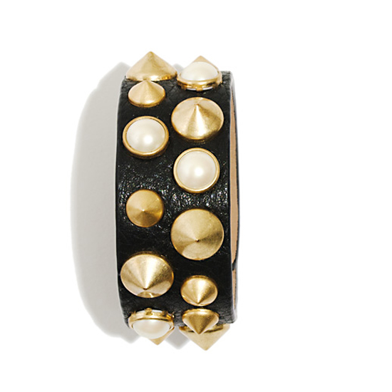 Narrow Pearl and Cone Cuff, $95